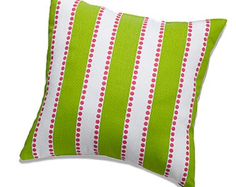 Chartreuse Green with Hot Pink Stripe Throw Pillow