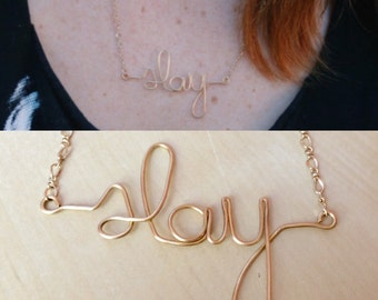 Slay Necklace | Gold Wire Writing Slay Necklace with Gold Chain | I Slay Beyonce Necklace