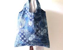 Japanese style tote bag. Market bag .Shopping bag. Reusable shopping bag. Printed on Cotton 100%