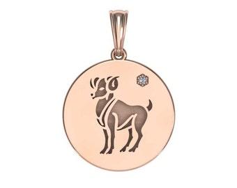 Aries Necklace, Zodiac Jewelry, Zodiac Necklace, Gold Necklace, Rose Gold Jewelry, White Gold Necklace, Solid Gold Zodiac Necklace