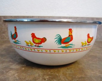 Vintage Antique Enameled Mixing Bowl with Roosters Chickens & Chicks