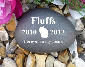 Personalised Pebble (Stone Effect) - Pet Memorial - Weatherproof - Personalised  - Hamster