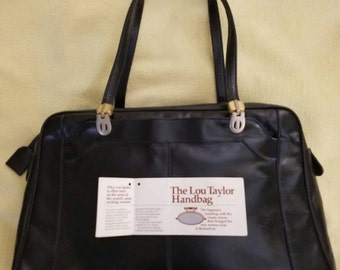 Vintage 1960's Lou Taylor Handbag Italian Leather with Swivel Mirror and original tag
