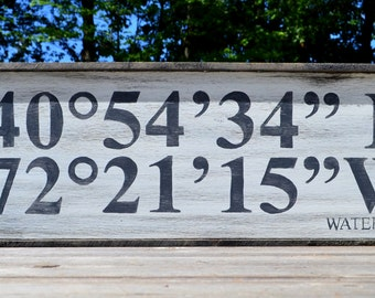 Custom Coordinates Sign - You pick the location, we hand-make the sign!   <Longitude | Latitude>