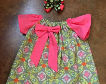 Girls Peasnat Dress with Bow