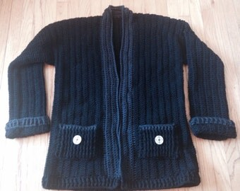 Crochet Black Sweater/Cardigan
