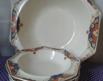 Burslem midwinter porcelon, England Serving dish and 6 dessert bowls. Set of 7 pieces, made in England.