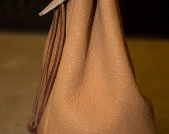 Hand Crafted Leather Flat Bottomed Drawstring Bag