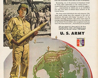 Antique 1951 U.S. Army Recruiting Military Original Print Ad