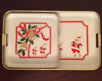 Vintage Lacquer Ware Santa Claus Nested Serving Trays Set of 2 | Christmas Décor | Made in Japan