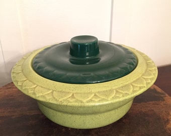 Vintage USA Pottery Avocado and Lime Green Covered Casserole Dish   Kitschy 1970's Retro Kitchenware