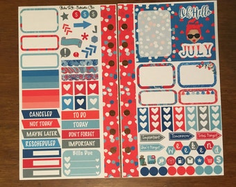 Hello July Medium Personal MM Stickers Louis Vuitton Mambi Inkwell Press Filofax Kikki K Happy Life Planner LV Patriotic July Red White Blue