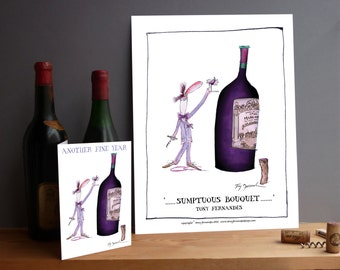 Wine Buff 1) Print and greeting card