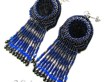 Earrings silver - Goth volcanic lava