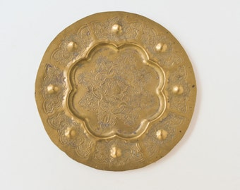 Middle Eastern Round Brass Plate