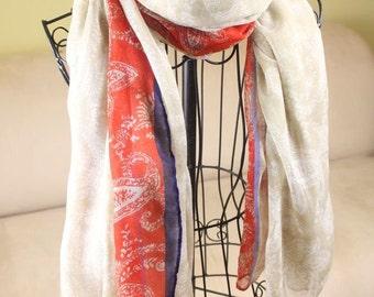 Metropolitano Viva la France Chiffon Voile Silk like Scarf Scarves Shawl Wrap Winter Red White Blue