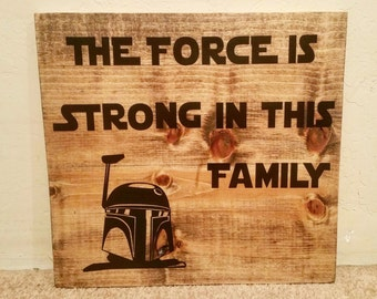"""Star Wars Inspired """"Family Strong"""" Quote Wall Decor"""