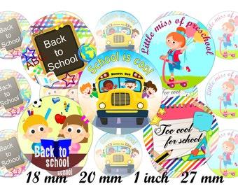 Back To School Bottle Cap Images, School 1 INCH Round Images School days images 1 inch School images Printable Back to school bottlecap