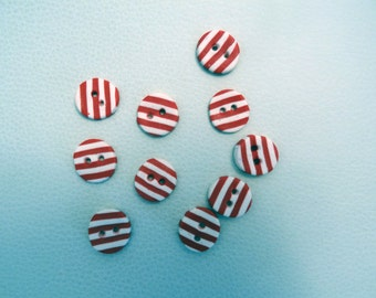 Striped red and white buttons