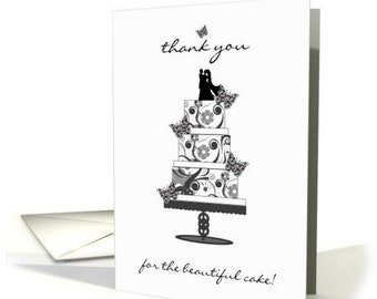 Thank You, Thank you for the wedding cake, thank you card for cake baker