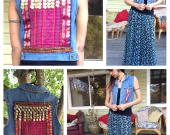 Upcycled embellished Denim gypsy Vest.