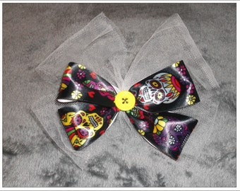 Day of the Dead Skulls double bow
