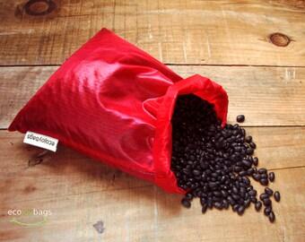Reusable bulk food bag, reusable grocery bag, ripstop nylon, size medium RED