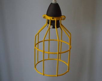 Cage Pendant Light/ Industrial light/ Yellow Cage hanging Light