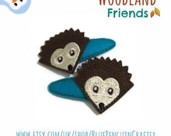 Hedgehog hair clip,  woodland felt hair clips, Autumn hair clip, snap clips, pair of clips, kids hair accessories, UK seller