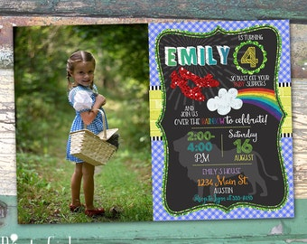 Photo Wizard of Oz Personalized Birthday Chalkboard Printable Invitation Print at Home