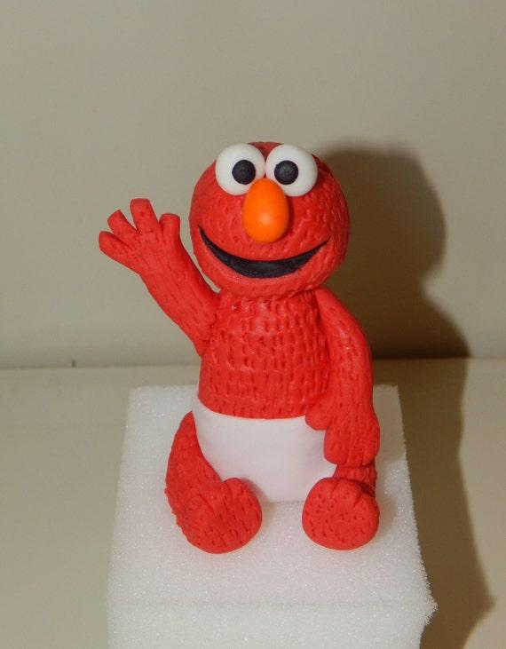 Elmo Cake Toppers Decorations : Baby Elmo Inspired Fondant Cake Topper
