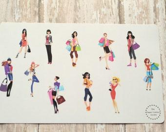 Shopping Fashion Girls Planner Agenda Stickers