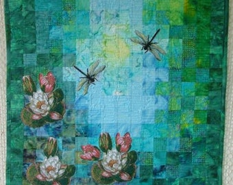 Water Lily and Dragonfly Art Quilt