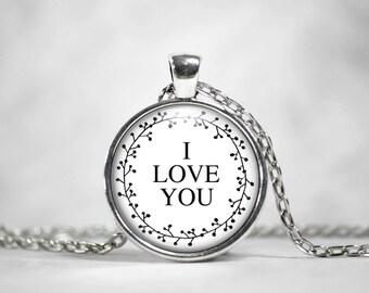 I love you Pendant Necklace, I love you Pendant Keychain
