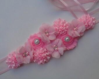 Pink Maternity Sash, Baby Girl Maternity Sash Belt, Pregnancy Belt, It's a Girl, Girl Baby Shower, Maternity Flower Belt