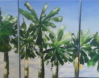 My Backyard original painting in Acrylics  ( 3 pieces each measures 30cm x 40cm)
