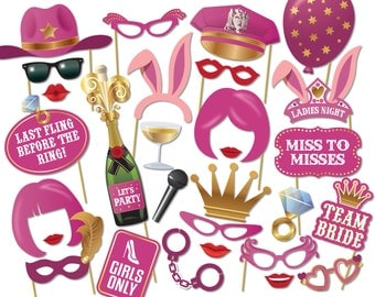 Printable Bachelorette Photo Booth Props - Hen Party Photobooth Props - 2001