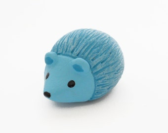 Turquoise blue hedgehog polymer clay miniature animal figurine