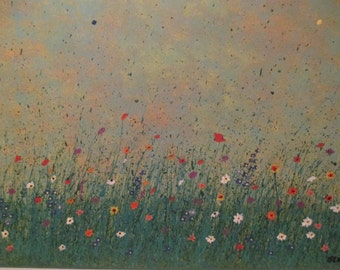 Spring meadow original acrylic & mixed media painting