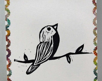 "Un-mounted, hand carved rubber stamp ""Perched Bird"""