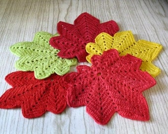 Cotton Cup Coasters, Drink Coasters,Knit coasters,Leaf coasters,Knit leaves,Crochet doily,Knitted sheet,Table setting