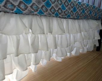 Ruffled Crib Skirt // Waterfall Crib Skirt // Four Tier Crib Skirt // White or Color of your Choice
