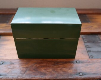 Ohio Art Co. Green Metal File Box with Index Cards