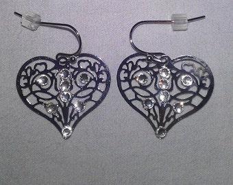 crystal studded heart shaped pierced earrings