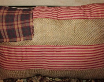9.95 American Flag Burlap Pillow, Primitive, Country, Country Primitive, Rustic, Farm House, Farm house decor, Country Decor, Americana