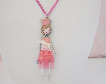 PINK FRENCH DOLL pendant, doll necklace with a pink dress, little girl pendant, Girl teen gift, metal necklace, cute, funny jewelry