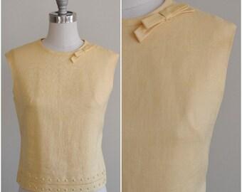 1960's Sleeveless Blouse- Lemon Cream Blouse- Large