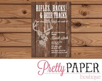 Rifle Racks & Deer Tracks Baby Shower Invitation - Digital or Printed