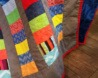 Throw quilt, lap quilt, baby quilt, masculine quilt, colorful quilt, minky back