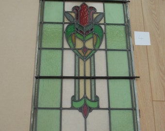 Vintage Stained Glass Leaded Window Panel 4
